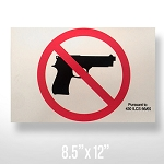 No Firearms Decal - Large