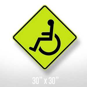 Handicapped Caution Sign